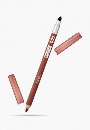 Карандаш для губ Pupa TRUE LIPS т.022 сливовый коричневый , 1.2 г.. Цвет: коричневый