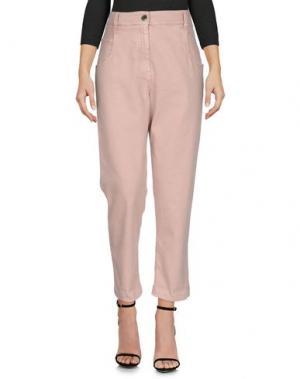 Джинсовые брюки-капри BRUNELLO CUCINELLI. Цвет: пастельно-розовый