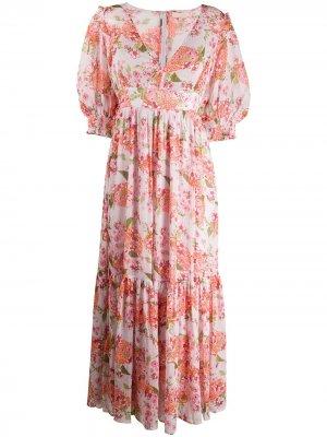 Платье макси с цветочным принтом byTiMo. Цвет: розовый