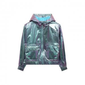Ветровка с капюшоном Karl Lagerfeld Kids. Цвет: зелёный