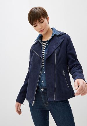 Куртка кожаная Lauren Ralph. Цвет: синий