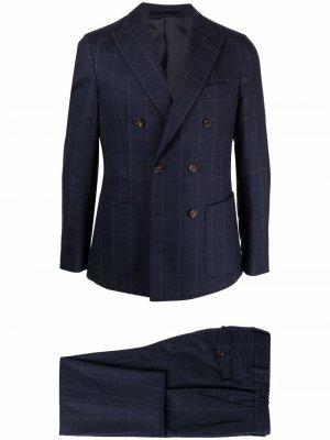 Костюм с двубортным пиджаком Eleventy. Цвет: синий