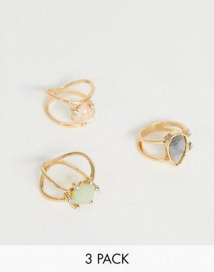 Набор золотистых колец с камнями пастельного оттенка и кристаллами ASOS DESIGN