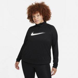 Женская беговая куртка с молнией на половину длины Dri-FIT Swoosh Run (большие размеры) - Черный Nike