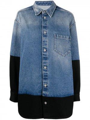 Джинсовая куртка со вставками MM6 Maison Margiela. Цвет: синий