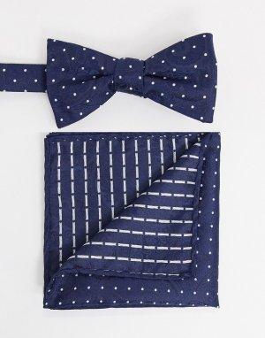 Темно-синий галстук-бабочка и платок для пиджака в горошек Selected Homme
