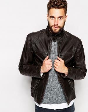 Кожаная байкерская куртка Barneys Barney's Originals. Цвет: коричневый