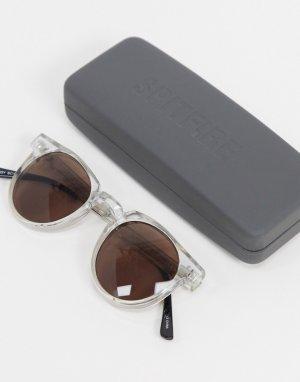 Круглые солнцезащитные очки унисекс с коричневыми стеклами в прозрачной оправе Teddy Boy-Очистить Spitfire