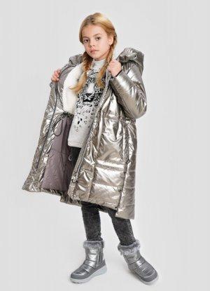 Утеплённая куртка для девочек O`Stin. Цвет: блестящий бронзовый