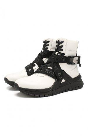 Кожаные кроссовки B-Troop Balmain. Цвет: белый