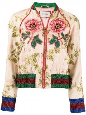 Бомбер с цветочной вышивкой Gucci Pre-Owned. Цвет: желтый
