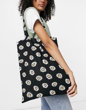 Большая хлопковая сумка-шопер с цветочным принтом в стиле 90-х -Черный цвет ASOS DESIGN