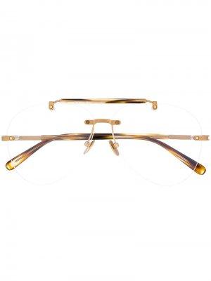 Классические очки-авиаторы Brioni. Цвет: нейтральные цвета
