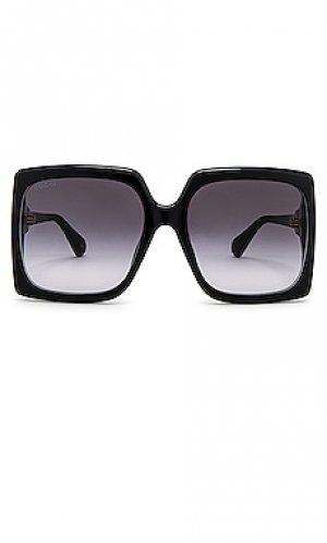 Солнцезащитные очки oversize square fork Gucci. Цвет: черный