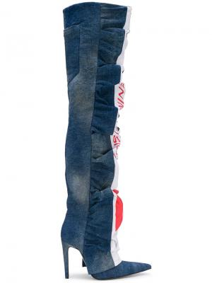 Джинсовые ботфорты Diesel Red Tag. Цвет: синий