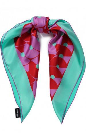 Шелковый платок с принтом Giorgio Armani. Цвет: разноцветный