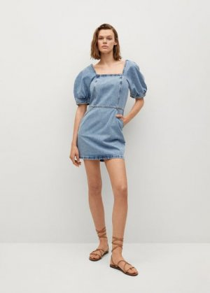 Джинсовое платье с рукавами-фонариками - Vitoria Mango. Цвет: синий средний