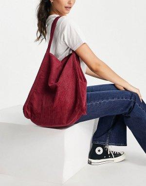 Бордовая вельветовая сумка-шопер -Красный ASOS DESIGN