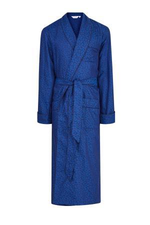 Халат из атласного хлопка с принтом листьев гинкго DEREK ROSE. Цвет: синий