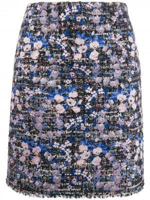 Твидовая юбка с цветочной вышивкой Giambattista Valli. Цвет: синий