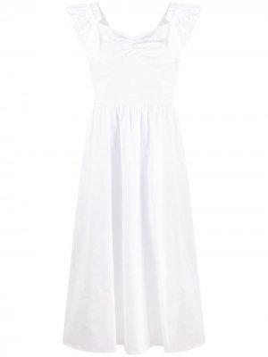 Платье миди на бретелях с оборками Michael Kors. Цвет: белый