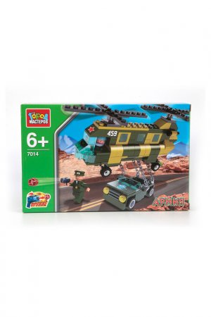 Конструктор: вертолет с джипом Город мастеров. Цвет: зеленый