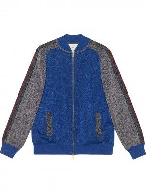 Куртка-бомбер с люрексом Gucci. Цвет: синий