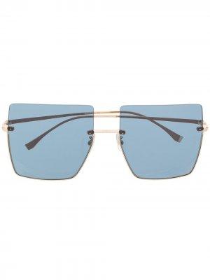 Солнцезащитные очки в квадратной оправе Fendi Eyewear. Цвет: золотистый