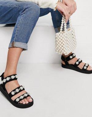 Черные сандалии в спортивном стиле с отделкой искусственным жемчугом Forget Me Not-Черный цвет ASOS DESIGN