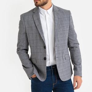 Пиджак костюмный в клетку узкого покроя LA REDOUTE COLLECTIONS. Цвет: в клетку серый