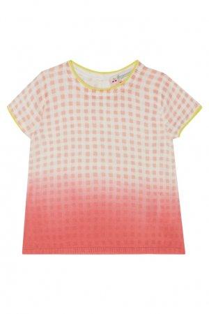 Розовый пуловер в клетку Bonpoint. Цвет: розовый