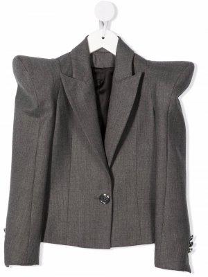 Структурированный пиджак Balmain Kids. Цвет: серый