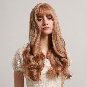 Натуральный длинный вьющийся парик с челкой SHEIN. Цвет: коричневые