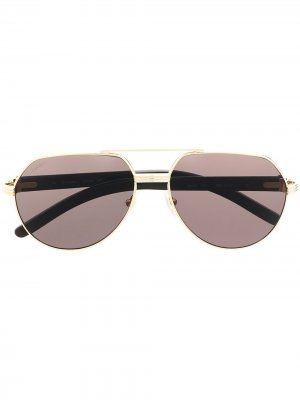 Солнцезащитные очки-авиаторы Cartier Eyewear. Цвет: белый