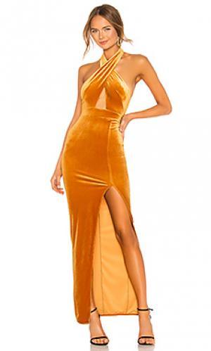 Вечернее платье холтер presley Michael Costello. Цвет: коньяк