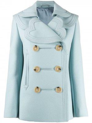 Двубортное пальто с многослойным воротником LANVIN. Цвет: синий