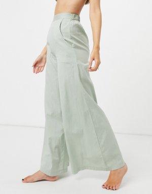 Эксклюзивные пляжные брюки цвета хаки с завышенной талией и широкими штанинами Esmee-Зеленый цвет Esmée