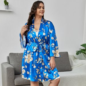 1 комплект большого размера, атласная ночная рубашка с цветочным узором на самошнуровке SHEIN. Цвет: синий