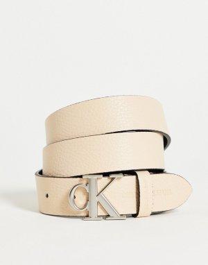 Ремень кремового цвета с логотипом-монограммой CK -Белый Calvin Klein Jeans