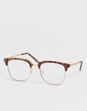 Квадратные солнцезащитные очки в черепаховой оправе Evasive-Коричневый Quay Australia