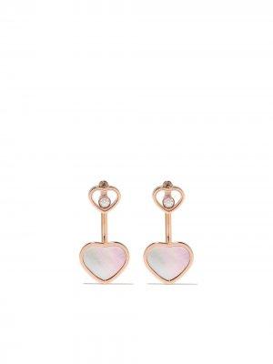 Серьги Happy Hearts из розового золота с бриллиантами Chopard. Цвет: розовый