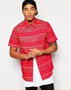 Рубашка с короткими рукавами и принтом Altamont. Цвет: красный