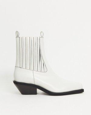 Белые кожаные полусапожки premium-Белый ASOS DESIGN