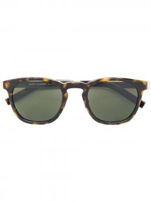 Солнцезащитные очки с квадратной оправой Saint Laurent Eyewear. Цвет: коричневый