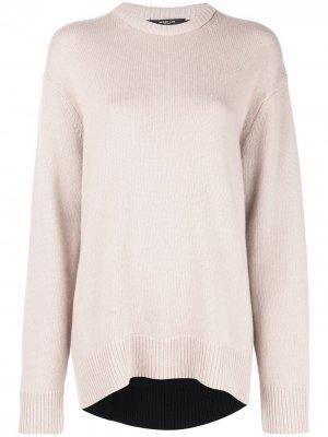 Кашемировый свитер оверсайз с контрастной вставкой Derek Lam. Цвет: коричневый