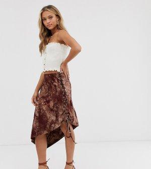 Асимметричная юбка миди с принтом тай-дай Ebonie n ivory-Коричневый ivory