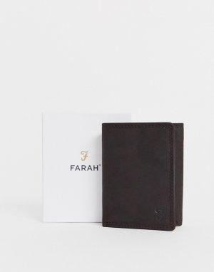 Коричневый складывающийся в три раза бумажник с тиснением cody roma Farah
