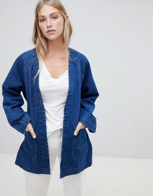 Джинсовая куртка в стиле кимоно Weekday. Цвет: синий
