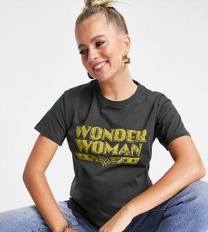 Темно-серая футболка с принтом Wonder Woman ASOS DESIGN Maternity-Серый Maternity