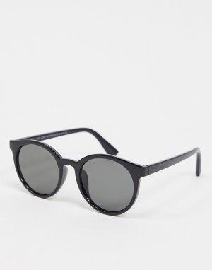 Черные солнцезащитные очки в круглой оправе -Черный New Look